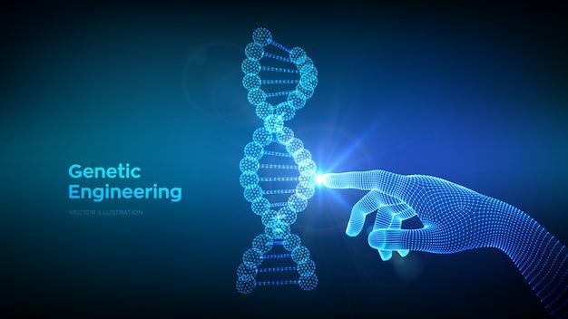 Mano tocando la malla de estructura de moléculas de secuencia de código de adn. ingeniería genética.