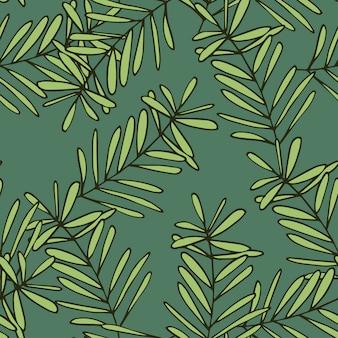 Mano transparente dibujado fondo de dibujos animados de hojas de palma patrón