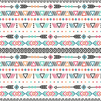 Mano tribal dibujada línea mexicana étnica patrón sin fisuras.
