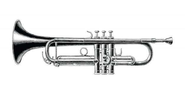 Mano de trompeta dibujar imágenes prediseñadas de estilo vintage en blanco y negro aislado