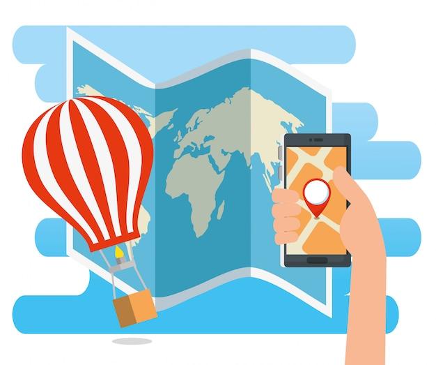Mano con ubicación de dirección de teléfono inteligente y globo aerostático