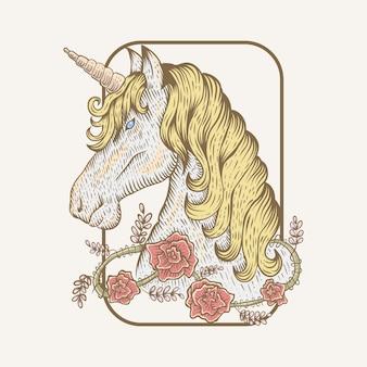 Mano unicornio flor dibujar ilustración vectorial