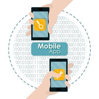 Mano usando la aplicación móvil teléfono inteligente