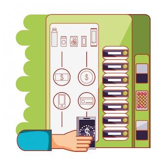 Mano usando máquina dispensadora electrónica