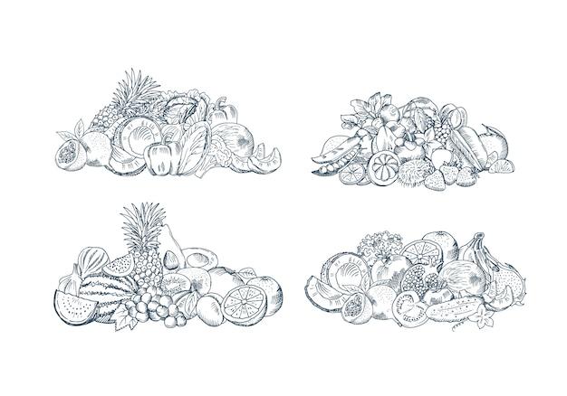 La mano del vector bosquejó las pilas de las frutas y verduras fijadas aisladas en el fondo blanco, colección de ejemplo de los alimentos orgánicos