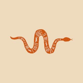 Mano de vector logo serpiente dibujado en naranja