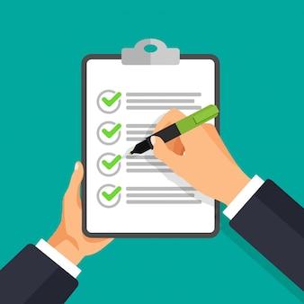 Mano de vector con pluma de escribir en una lista de verificación. empresario firma documento.