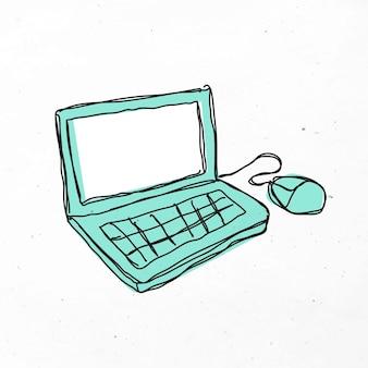 Mano verde, dibujado, computadora portátil clipart