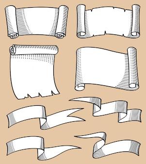 La mano del vintage bosquejó volutas y el sistema del vector de las banderas de la cinta.