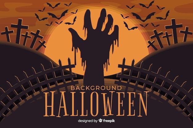 Mano de zombie aterrador en fondo de halloween