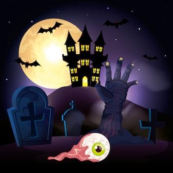 Mano de zombie en cementerio en escena halloween