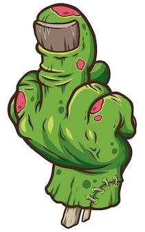 Mano de zombie de dibujos animados