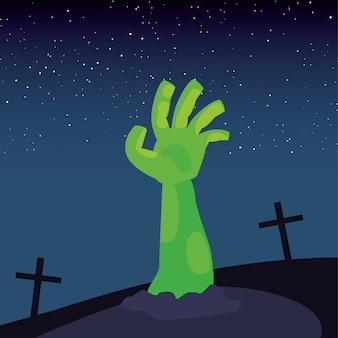 Mano de zombie en escena del cementerio