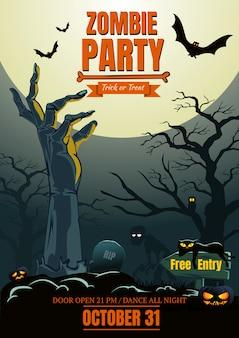 Mano de zombie de halloween en cartel de fiesta de cementerios