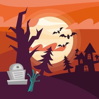 Mano de zombie de halloween y diseño de tumba, tema aterrador
