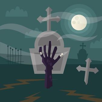 Mano de zombie de halloween en la ilustración del cementerio