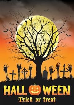 Mano de zombie de halloween en tumba con árbol muerto