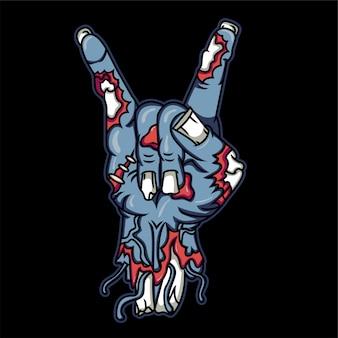 Mano de zombie con la ilustración de signo de satanás