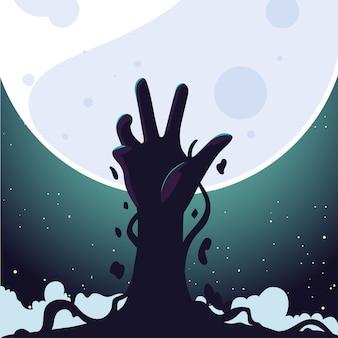 Mano de zombie y luna llena para fondo de halloween