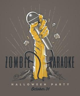 Mano de zombie con micrófono desde el suelo - invitación de arte lineal para fiesta de karaoke de halloween