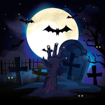 Mano de zombie en la noche oscura y la ilustración de la escena de halloween