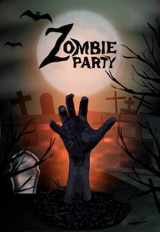 Mano de zombie saliendo de la tumba, fiesta de halloween.