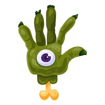 Mano de zombie verde con ojo para halloween