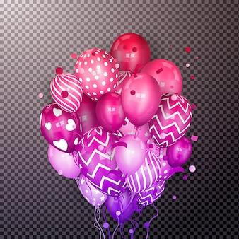Manojo colorido realista 3d de globos de cumpleaños voladores.