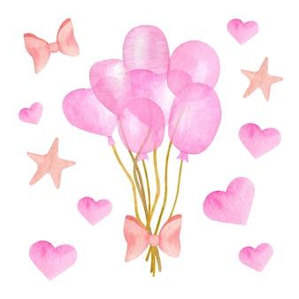 Manojo de globo de aire rosa acuarela con corazones, lazos de cinta y estrellas
