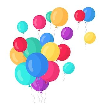 Manojo de globo de helio, bolas de aire volando aisladas sobre fondo blanco.