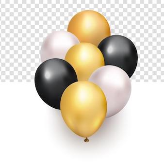 Manojo realista de globos de oro negro blanco brillante volador para elemento de diseño de año nuevo