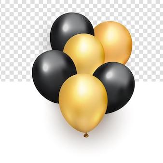 Manojo realista de globos de oro negro brillante voladores para elemento de diseño de año nuevo