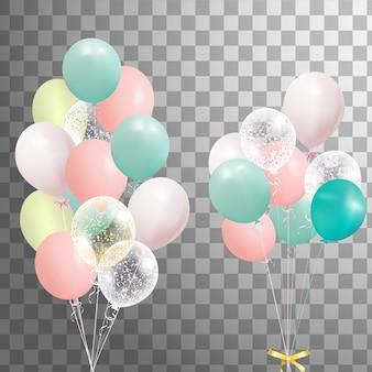 Manojos de globos de helio coloridos aislados. globo de fiesta helado para diseño de eventos. decoraciones de fiesta para cumpleaños, aniversario, celebración.
