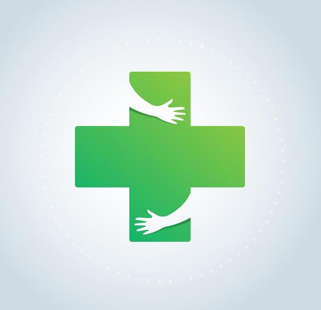 Manos abrazan en icono de hospital