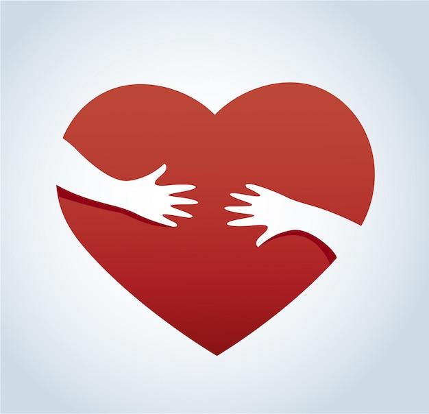 Manos abrazando el vector de corazón