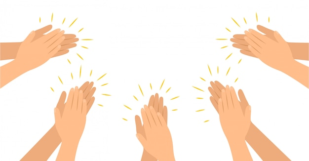 Las manos aplauden en estilo plano, aplausos felicitaciones.