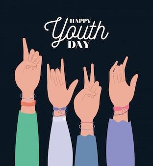 Manos arriba de feliz día de la juventud
