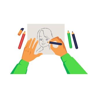 Manos de artista sosteniendo lápiz y dibujo retrato de mujer en estilo de dibujos animados de papel