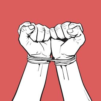 Manos atadas con una cuerda aislada en blanco bosquejo en rojo