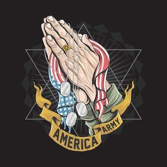 Las manos con la bandera americana están rezando obras de arte para veteranos, día conmemorativo y diseño del día de la independencia