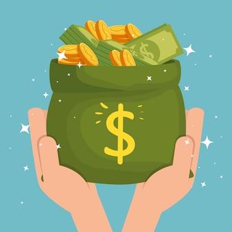 Manos con bolsa de dinero en efectivo aislado