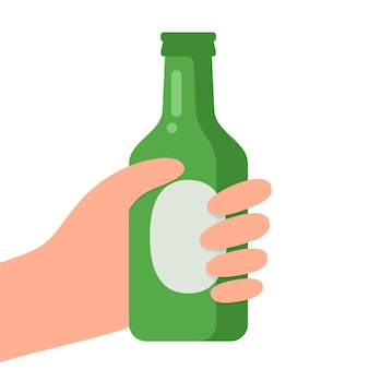 Manos con botella de cerveza Vector Premium