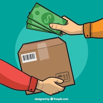 Manos con caja y dinero dibujado a mano