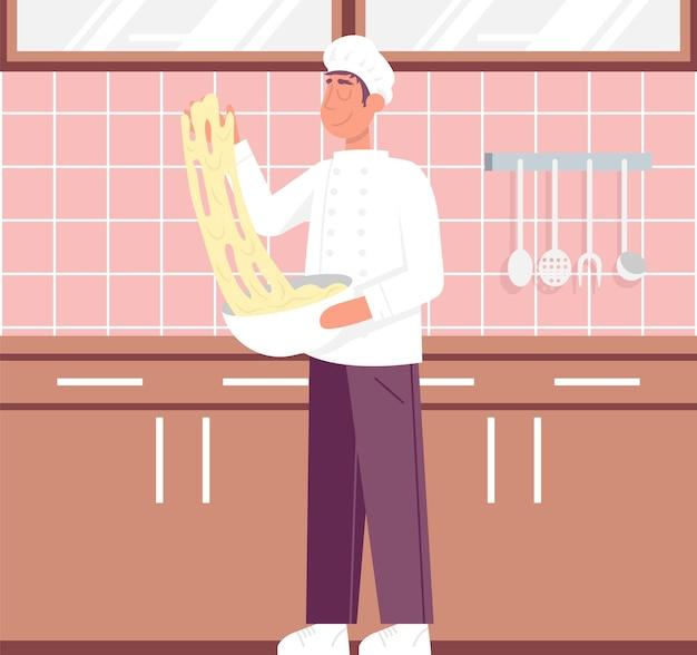 Las manos del chef amasan la masa para pizza, pan, pasta, vector plano, color, caricatura, icono, pizzería
