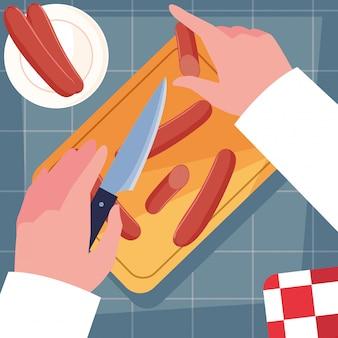 Manos del chef con cuchillo y tabla de cocina