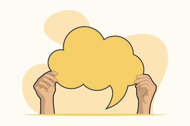 Manos con concepto de burbuja de discurso en blanco