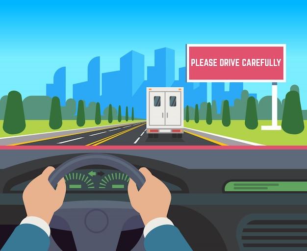 Manos conduciendo coche. auto dentro del tablero de instrumentos, velocidad del conductor, adelantamiento, tráfico, calle, viaje, cartelera, ilustración plana