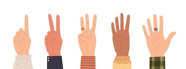 Manos contando. cuente con los dedos mostrando el número uno, dos, tres, cuatro y cinco. gesto de cuenta regresiva de los iconos de mano en un conjunto de vectores de estilo plano de moda. palmas masculinas y femeninas con anillos aislados
