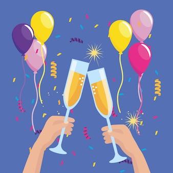 Manos con copa de champagne y globos con confeti.