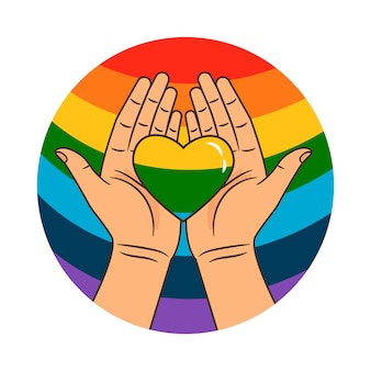 Manos y corazon arcoiris